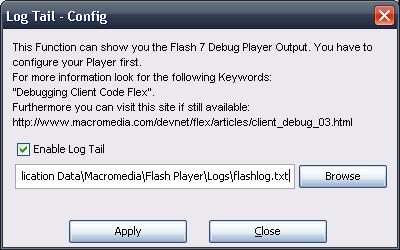 Screenshot SOS Flash Log Tail Config window